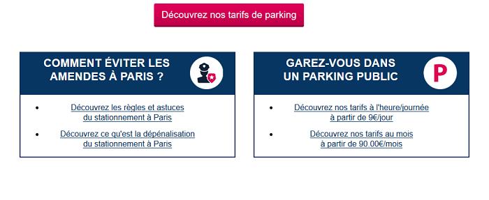 carte de parking à Paris